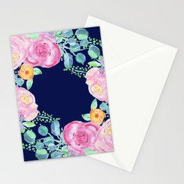 light pink peonies roses with navy background Stationery Cards