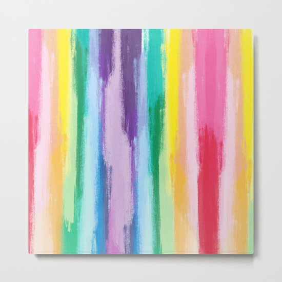 Colorful Rainbow Handdrawn Beach Stripes - Mix and Match with Simplicity of Life Metal Print