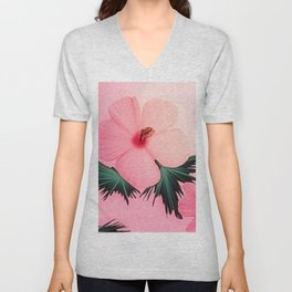 Tropical Pink Hibiscus Flower Print Unisex V-Neck