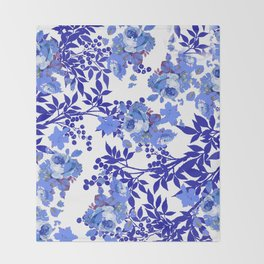 BLUE AND WHITE ROSE LEAF TOILE PATTERN Throw Blanket