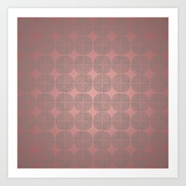 Tin circles on shiny marsala pattern Art Print