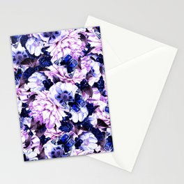 night and day flowers butterflies pattern blue purple Stationery Cards