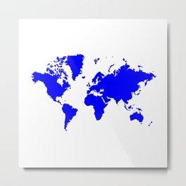 World with no Borders - true blue Metal Print