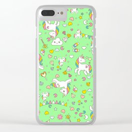 Unicorn Green Pattern Clear iPhone Case