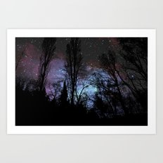 Black Trees Dark Space Art Print
