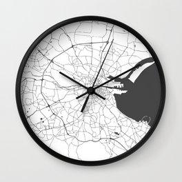 White on Grey Dublin Street Map Wall Clock