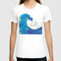 hokusai T-shirts featuring Hokusai Rainbow & dolphin_G by FACTORIE