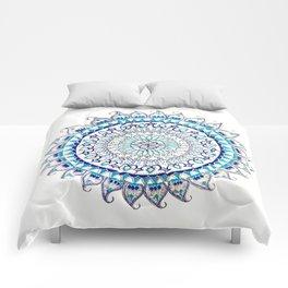 Blue and Silver Metallic Detail Mandala Comforters