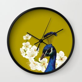 Peacocks and Cherry Blossoms Wall Clock