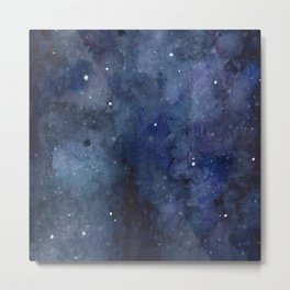 Galaxy Nebula Watercolor Night Sky Stars Outer Space Blue Texture Metal Print