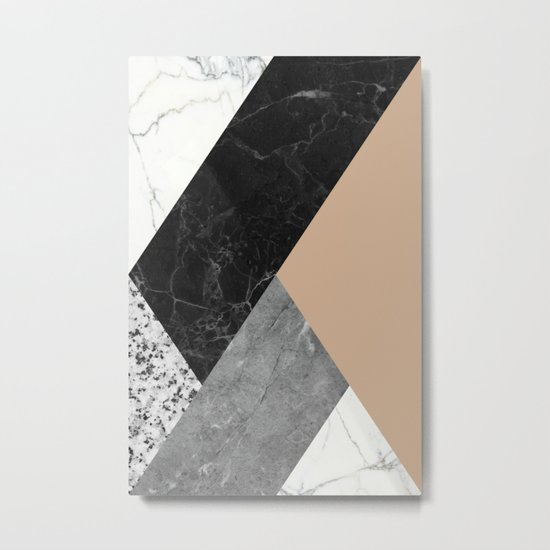 Black and white marbles and pantone hazelnut color Metal Print