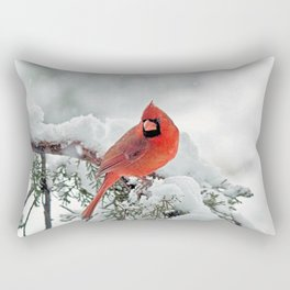 Cardinal on a Snowy Branch Rectangular Pillow