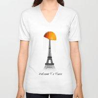 paris V-neck T-shirts featuring Paris by Mehdi Elkorchi