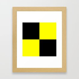 Bright Fluorescent Yellow Neon & Black Checked Checkerboard Framed Art Print