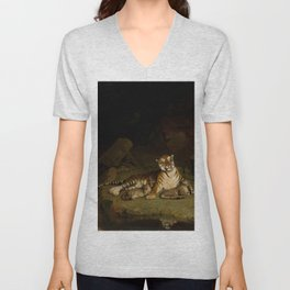Tiger and Cubs by Jean-Léon Gérôme 1884 - Reproduction from original under CC0 Unisex V-Neck
