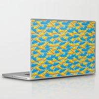 yellow submarine Laptop & iPad Skins featuring Yellow & Blue Submarine by thunalab