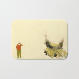 man listening a car burning Bath Mat