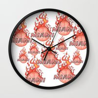 nba Wall Clocks featuring HEAT HAND-DRAWING DESIGN by SUNNY Design