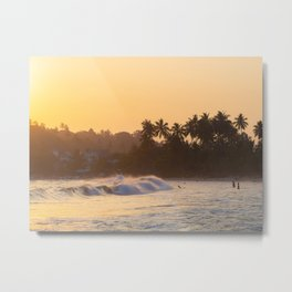 Sunset and surf waves in Mirissa, Sri Lanka Metal Print