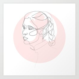 Princess Organa - single line art Art Print