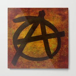 Distressed Anarchy Symbol Metal Print