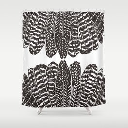TRIBAL FEATHERS - BLACK Shower Curtain