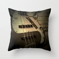 bass Throw Pillows featuring Bass-ic by Andy Burgess