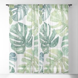 Tropical leaves Monstera leaves Jungle leaves Palm leaves Sheer Curtain