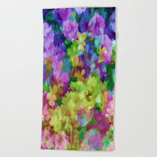 Watercolor Garden Flowers Beach Towel