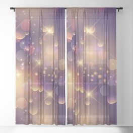 Festive Sparkles in Purple Sheer Curtain