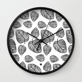 Black Leaves on White Wall Clock