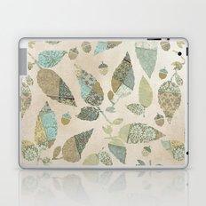 Nostalgic Patchwork Autumn Leaf Pattern Teal Beige Laptop & iPad Skin