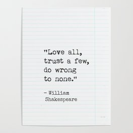 Shakespeare quote about love. Poster