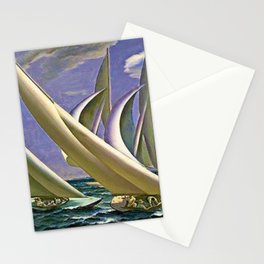 American Masterpiece 'Racing in Newport - America's Cup' by G. Foster Stationery Cards