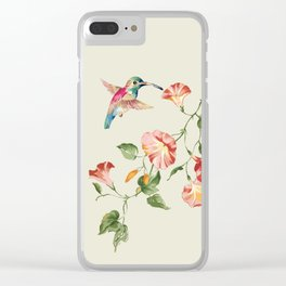 hummingbirds & morning glories Clear iPhone Case