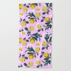 Geometric and Lemon pattern Beach Towel