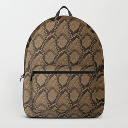 Bronze Brown and Black Python Snake Skin Backpack
