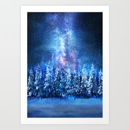 Forest under the Starlight Art Print