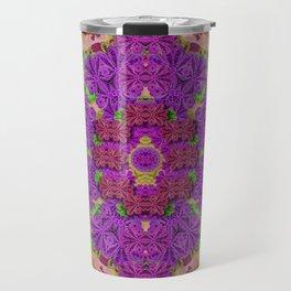 Rainbow and peacock mandala in heavy metal style Travel Mug