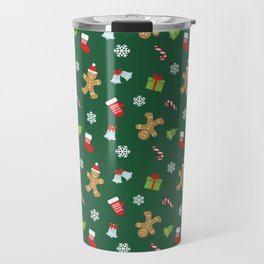 Merry christmas and happy new year socks, snowflakes, candies and Gingerbread Man holiday pattern Travel Mug