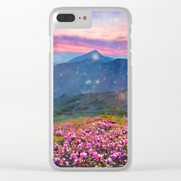 Blooming mountains Clear iPhone Case
