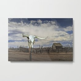 Steer Skull and Western Fenced Corral Metal Print