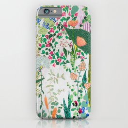 Painterly Floral Jungle on Pink and White iPhone Case