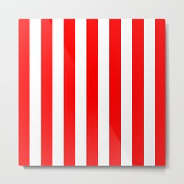 Vertical Stripes (Red/White) Metal Print
