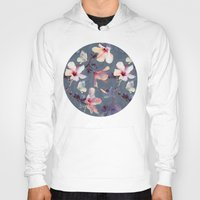 hibiscus Hoodies featuring Butterflies and Hibiscus Flowers - a painted pattern by micklyn