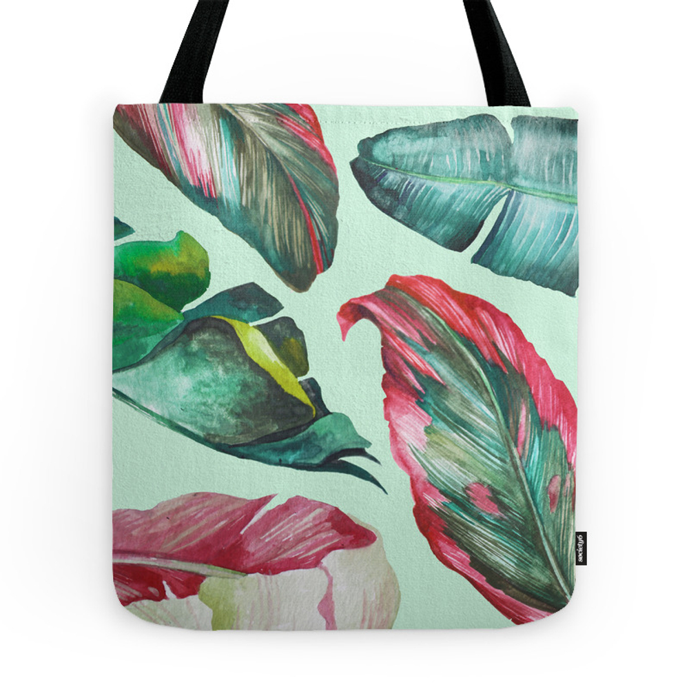 Classic Tropical Palm Leaves Mint Green Tote Purse by bilingval (TBG9859406) photo