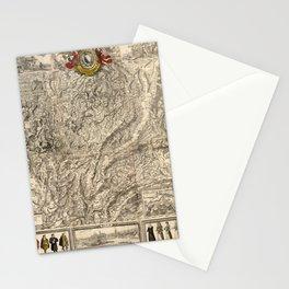 Map Of Switzerland 1750 Stationery Cards
