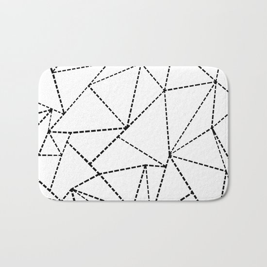 Abstract Dotted Lines Black and White Bath Mat