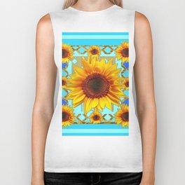Blue Shades Yellow Sunflowers  Art Biker Tank