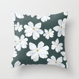 Southern Magnolia, Green Background Throw Pillow